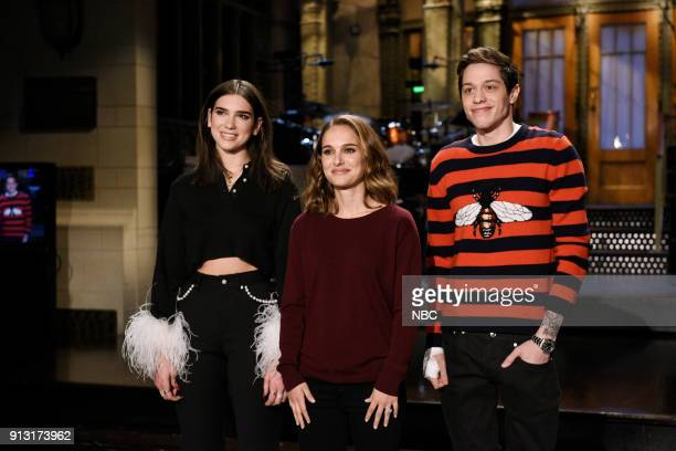 LIVE 'Natalie Portman' Episode 1738 Pictured Musical Guest Dua Lipa with Host Natalie Portman and Pete Davidson during a promo in Studio 8H