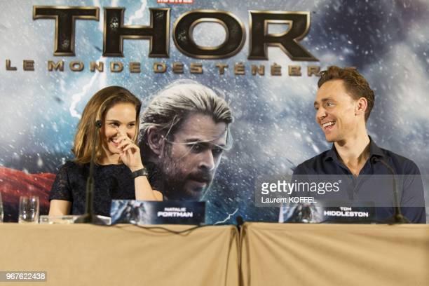 Natalie Portman et Tom Hiddleston assistent a la conference de presse du film 'Thor le monde des tenebres' le 24 octobre 2013 a l'hotel Park Hyatt...