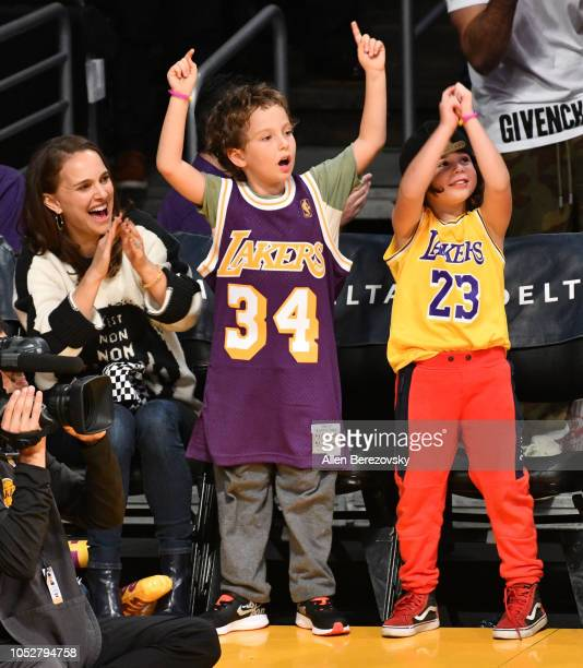 Natalie Portman her son Aleph PortmanMillepied and a friend attend a basketball game between the Los Angeles Lakers and the San Antonio Spurs at...