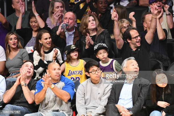 Natalie Portman her son Aleph PortmanMillepied and friends attend a basketball game between the Los Angeles Lakers and the San Antonio Spurs at...