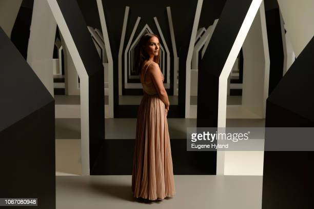 Natalie Portman poses in the Escher x Nendo | Between Two Worlds Exhibition ahead of the NGV Gala 2018 at National Gallery of Victoria on December 1...