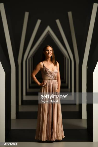 Natalie Portman poses in the Escher x Nendo   Between Two Worlds Exhibition ahead of the NGV Gala 2018 at National Gallery of Victoria on December 1...