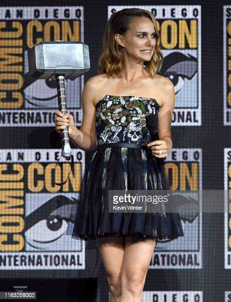 Natalie Portman speaks at the Marvel Studios Panel during 2019 ComicCon International at San Diego Convention Center on July 20 2019 in San Diego...