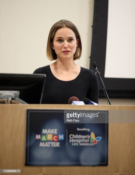 """Natalie Portman speaks during Children's Hospital Los Angeles' 5th annual """"Make March Matter"""" fundraising campaign kick-off at Childrens Hospital Of..."""