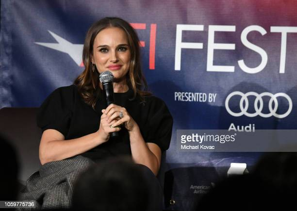 Natalie Portman speaks onstage during 'A Conversation With Natalie Portman' at the Screening of 'Vox Lux' at AFI FEST 2018 Presented By Audi at the...