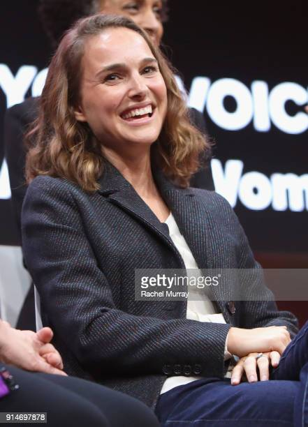 Natalie Portman speaks onstage during The 2018 MAKERS Conference at NeueHouse Hollywood on February 5 2018 in Los Angeles California