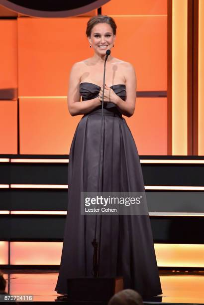 Natalie Portman speaks onstage during the 31st Annual American Cinematheque Awards Gala at The Beverly Hilton Hotel on November 10 2017 in Beverly...
