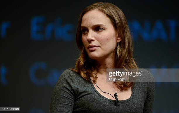 Natalie Portman walks on stage for a panel discussion during the 'Jackie' Washington DC Premiere at The Newseum on December 1 2016 in Washington DC