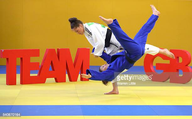 Natalie Powell of Great Britain trains ahead of an announcement of judo athletes named in Team GB for the Rio 2016 Olympic Games at British Judo...