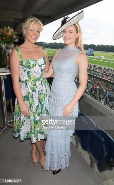 Natalie Rushdie and Camilla Kerslake attend the King George Weekend at Ascot Racecourse on July 27 2019 in Ascot England