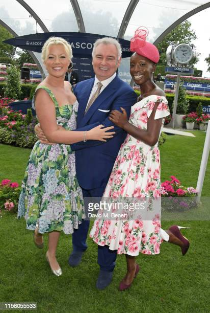 Natalie Rushdie Eamonn Holmes and Eunice Olumide attend the King George Weekend at Ascot Racecourse on July 27 2019 in Ascot England