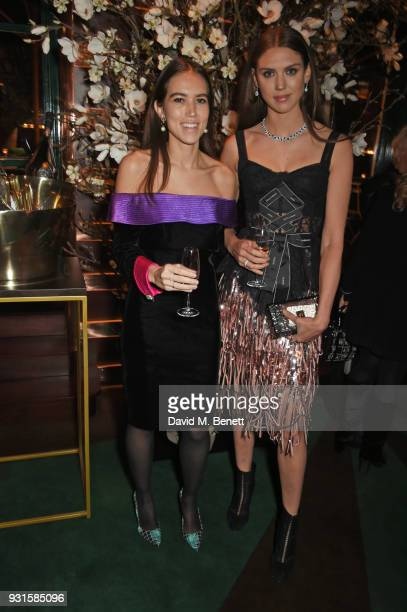 Natalie Salmon and Lady Sabrina Percy attend the launch of Champagne Armand de Brignac Blanc de Blancs en Magnum at Casa Cruz on March 13 2018 in...