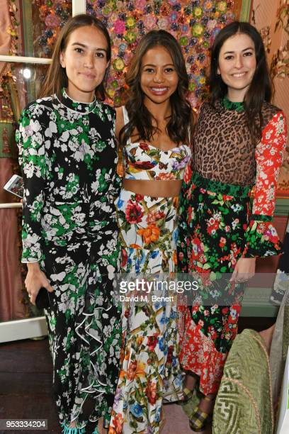 Natalie Salmon Viscountess Emma Weymouth and Lily Worcester attend the launch of BeeBazaarcouk supported by PerrierJouet at Annabel's on May 1 2018...