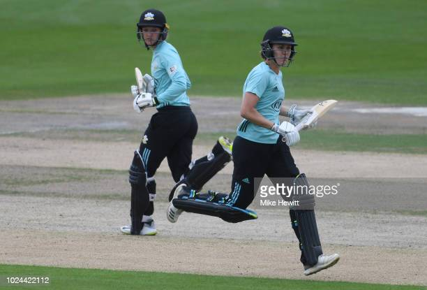 Natalie Sciver and Sarah Taylor of Surrey take a quick single during the semifinal between Western Storm and Surrey Stars on Finals Day Kia Super...