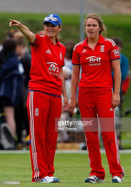 Natalie Sciver and Victoria Edwards of England in action during the 1st NatWest Women's One Day International match between England and Pakistan at...
