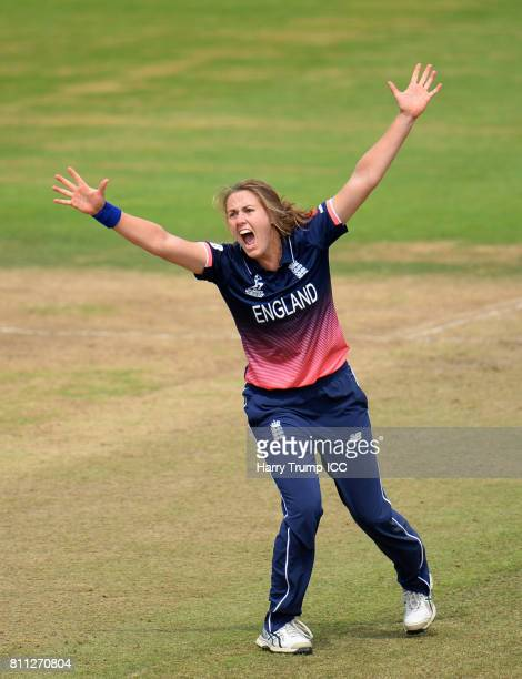 Natalie Sciver of England appeals for the wicket of Beth Mooney of Australia during the ICC Women's World Cup 2017 match between England and...