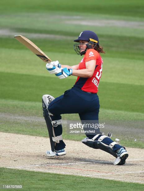 Natalie Sciver of England bats during the 2nd Vitality Women's IT20 at The 1st Central County Ground on July 28, 2019 in Hove, England.