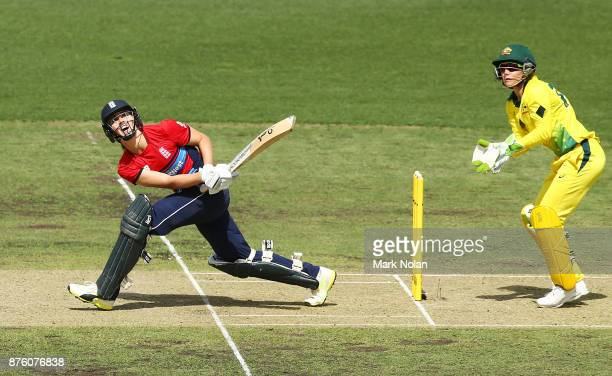 Natalie Sciver of England bats during the second Women's Twenty20 match between Australia and England at Manuka Oval on November 19 2017 in Canberra...
