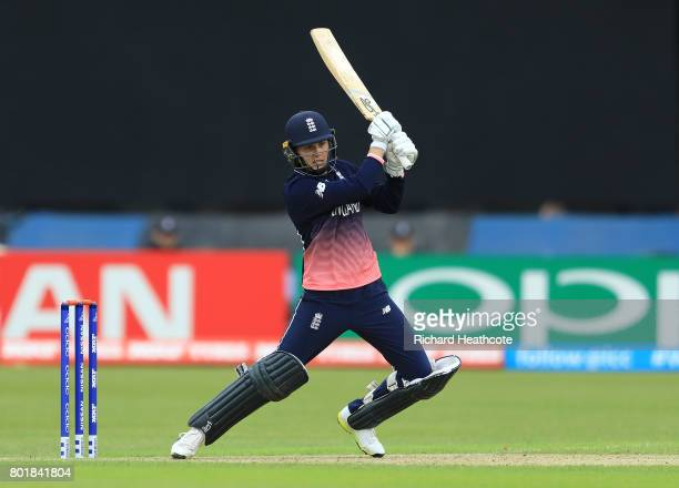 Natalie Sciver of England bats during the Women's ICC World Cup group match between England and Pakistan at Grace Road on June 27 2017 in Leicester...