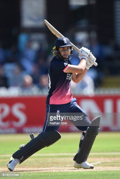 Natalie Sciver of England batting during the ICC Women's World Cup 2017 between England and New Zealand at The 3aaa County Ground on July 12 2017 in...