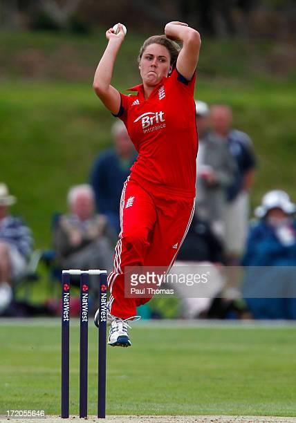 Natalie Sciver of England bowls during the 1st NatWest Women's One Day International match between England and Pakistan at the London Road Sports...