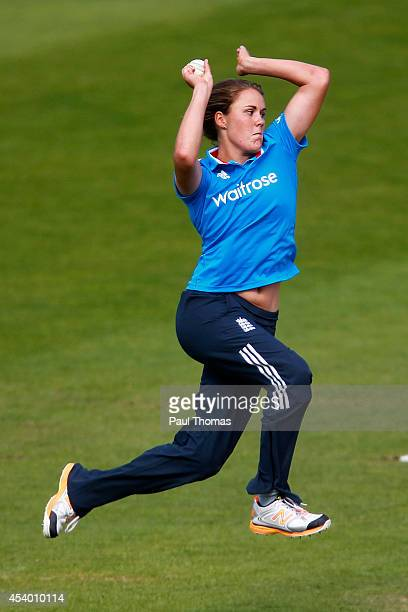 Natalie Sciver of England bowls during the 2nd Royal London ODI between England and India at North Marine Road on August 23 2014 in Scarborough...