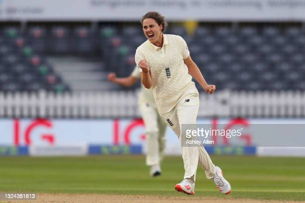 Natalie Sciver of England celebrates getting the wicket of India's Punam Raut on Day four of the LV= Insurance Test Match between England Women and...
