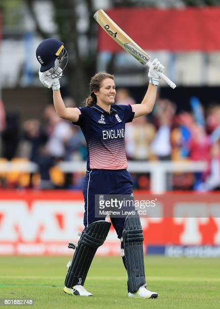 Natalie Sciver of England celebrates her century during the ICC Women's World Cup 2017 match between England and Pakistan at Grace Road on June 27...