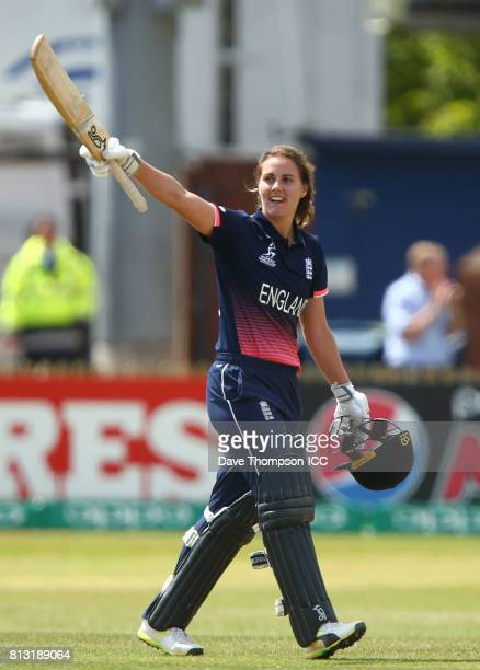 Natalie Sciver of England celebrates making her century during the ICC Women's World Cup match between England and New Zealand at The 3aaa County...