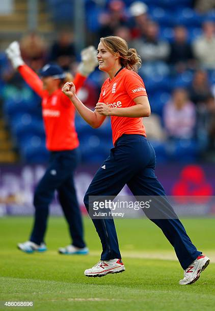 Natalie Sciver of England celebrates taking the wicket of Alex Blackwell of Australia during the 3rd NatWest T20 of the Women's Ashes Series between...