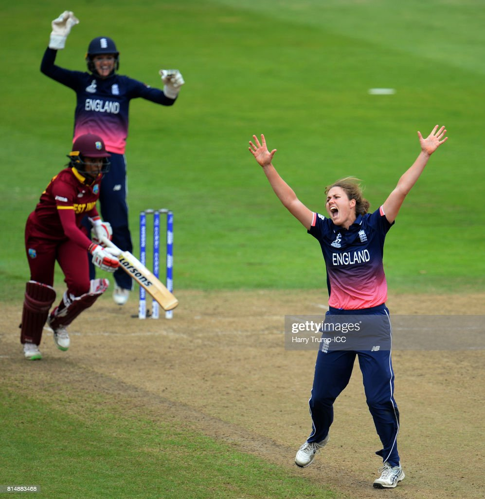 Natalie Sciver of England celebrates the wicket of Chedean Nation of West Indies during the ICC Women's World Cup 2017 match between England and the West Indies at The County Ground on July 15, 2017 in Bristol, England.