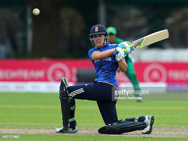 Natalie Sciver of England hits a boundary during the second Women's Royal London ODI match between England and Pakistan at New Road on June 22 2016...