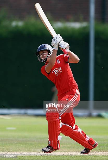 Natalie Sciver of England hits the ball towards the boundary during the 1st NatWest Women's International T20 match between England Women and...