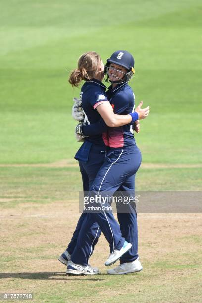 Natalie Sciver of England hugs Sarah Taylor after she stumps Trisha Chetty of South Africa during the SemiFinal ICC Women's World Cup 2017 match...