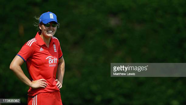 Natalie Sciver of England looks on during the 1st NatWest Women's International T20 match between England Women and Pakistan Women on July 5 2013 in...