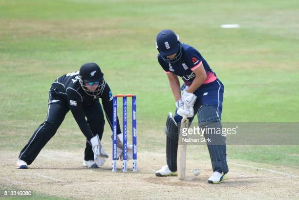 Natalie Sciver of England plays a trick shot during the ICC Women's World Cup 2017 between England and New Zealand at The 3aaa County Ground on July...
