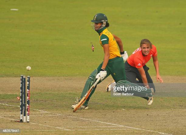 Natalie Sciver of England runs out Moseline Daniels of South Africa during the ICC Women's World Twenty20 Bangladesh 2014 2nd SemiFinal match between...