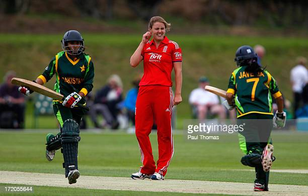 Natalie Sciver of England watches on during the 1st NatWest Women's One Day International match between England and Pakistan at the London Road...