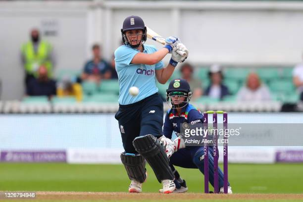 Natalie Sciver of England Women hits four during the Women's Third One Day International match between England and India at New Road on July 03, 2021...