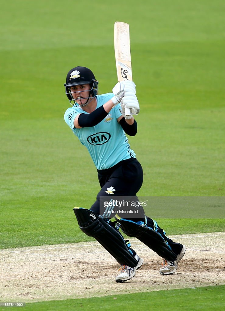 Natalie Sciver of Surrey bats during the Kia Super League match between Surrey Stars and Western Storm at The Kia Oval on August 23, 2017 in London, England.