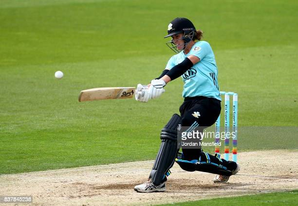 Natalie Sciver of Surrey bats during the Kia Super League match between Surrey Stars and Western Storm at The Kia Oval on August 23 2017 in London...