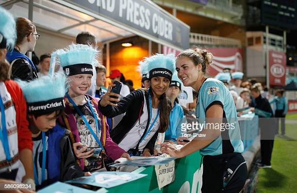 Natalie Sciver of Surrey poses for a selfie during the Kia Super League match between Surrey Stary and Yorkshire Diamonds at The Kia Oval on August 4...