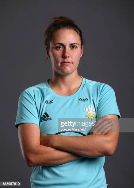 Natalie Sciver of Surrey Stars poses for a portrait during the Surrey Stars Photo Shoot at the Surrey Cricket Centre on August 7 2017 in Guildford...