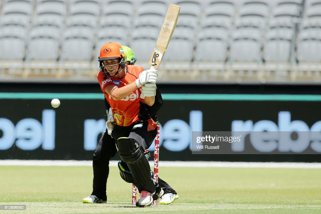 Natalie Sciver of the Scorchers bats during the Women's Big Bash League match between the Sydney Thunder and the Perth Scorchers at Optus Stadium on February 1, 2018 in Perth, Australia.