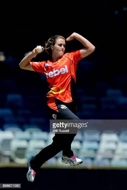 Natalie Sciver of the Scorchers bowls during the Women's Big Bash League match between the Perth Scorchers and the Melbourne Stars at WACA on...