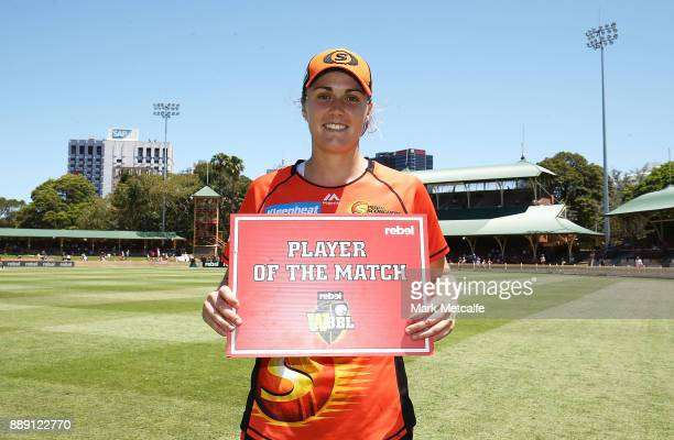 Natalie Sciver of the Scorchers poses with the player of the natch award during the Women's Big Bash League WBBL match between the Perth Scorchers...