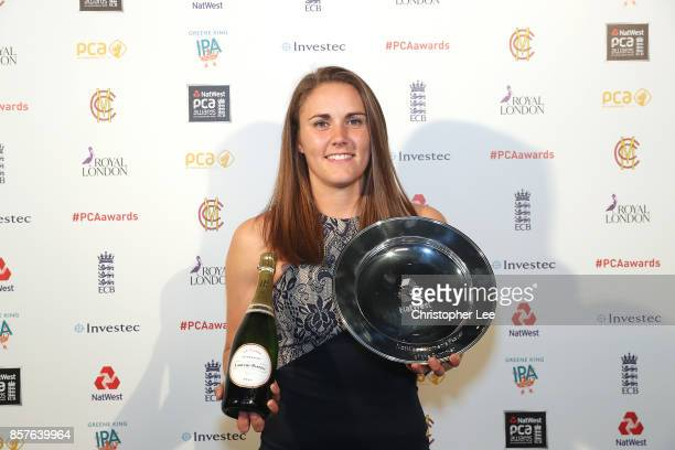 Natalie Sciver with her NatWest Womens Player of the Summer Award during the NatWest PCA Awards at The Roundhouse on October 4 2017 in London England