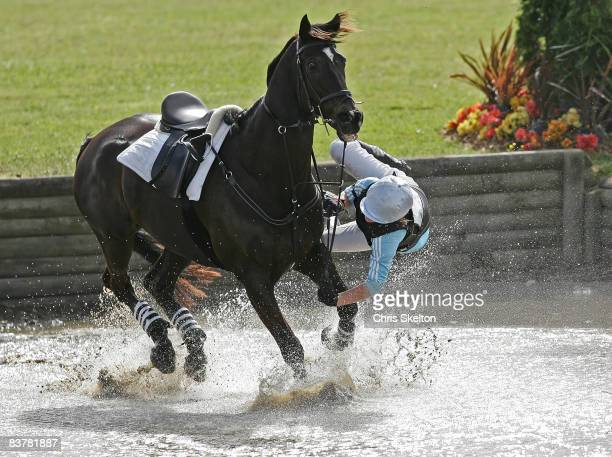 Natalie Sharples comes off her horse Jungle at the water jump during the cross country at the Manukau City Puhinui three day horse trials November 22...