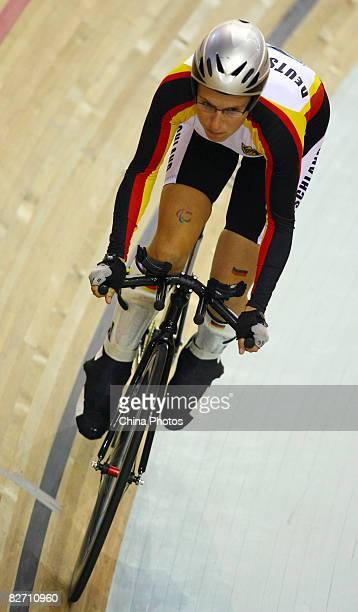 Natalie Simanowski of Germany competes in the women's 500 meters time trial during the Track Cycling event at the Laoshan Velodrome during day two of...