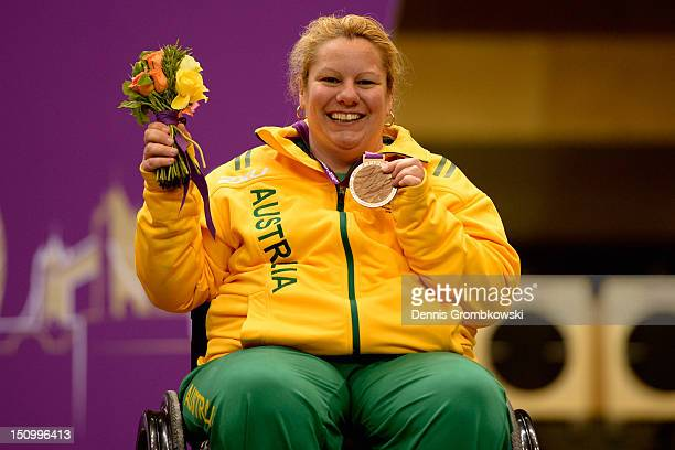 Natalie Smith of Australia celebrates after winning the bronze medal in the Women's R210m Air Rifle Standing SH1 Finals on day 1 of the London 2012...